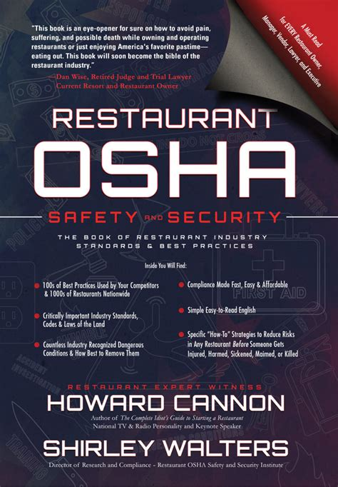 prevention and osha compliance books restaurant osha safety and security the book of
