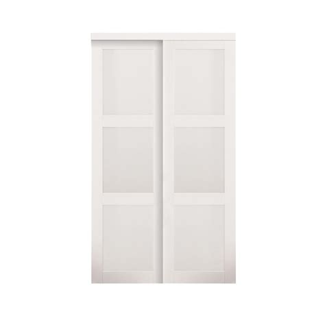 glass closet doors home depot truporte 48 in x 80 in white 3 lite tempered frosted glass composite interior sliding door
