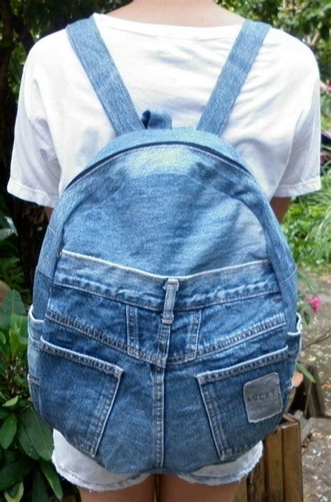 Backpak Jins vintage recycled denim backpack rucksack satchel
