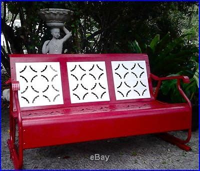 retro glider bench vintage porch glider red white metal lawn porch patio