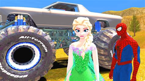 monster truck videos youtube monster trucks spiderman y elsa de frozen la pelicula