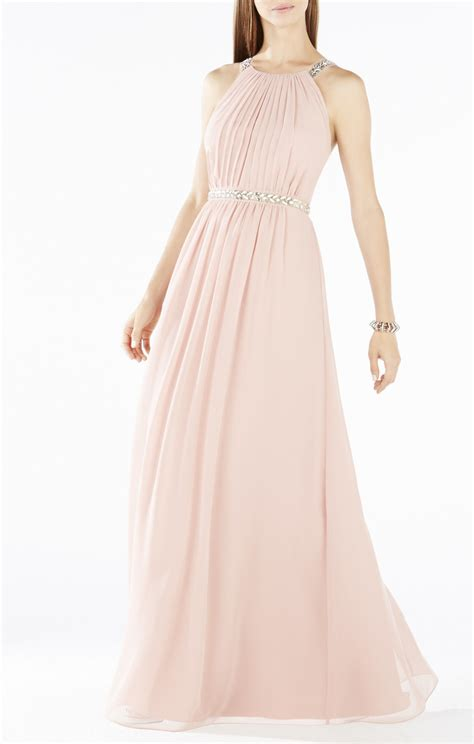 beaded halter dress bcbgmaxazria celestine beaded halter gown in pink lyst
