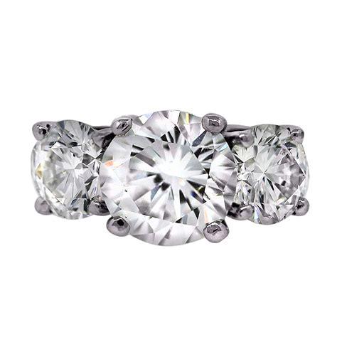 Three Engagement Ring by Platinum 5 Carat Three Engagement Ring