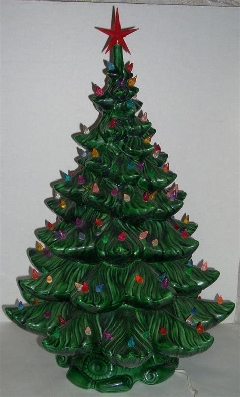 Vintage Ceramic Lighted Christmas Tree 24 Inch Ceramic Lighted Tree