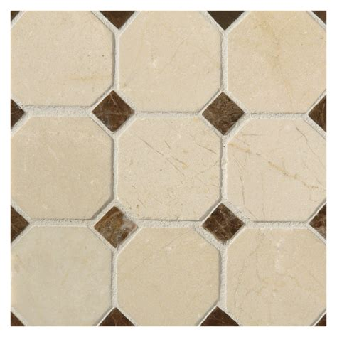 Octagon Tile Patterns Octagon With Dot Mosaic Tile Polished Crema Marfil