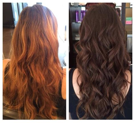 cut before dye hair before and after color correction dark to light brunette