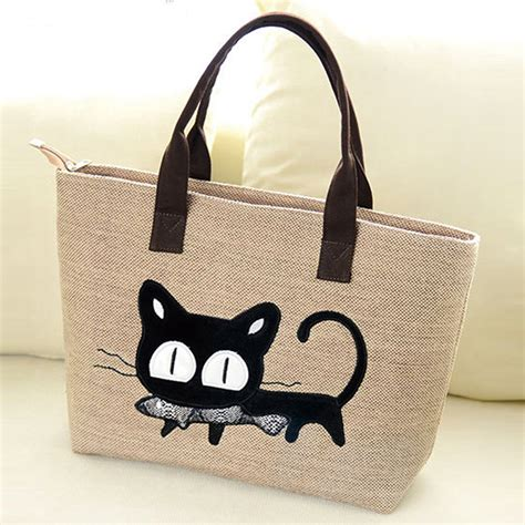 Tote Cat casual handbag canvas shopping tote bag cat