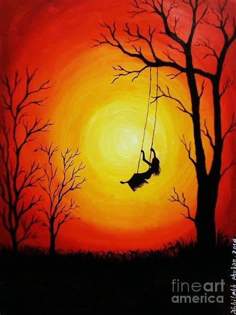 swing painting sunset swing painting by abhilekh phukan