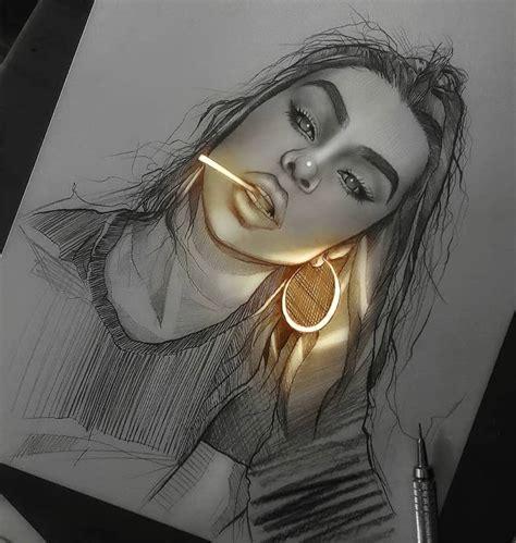 artista crea dibujos  lapiz  parecen iluminados