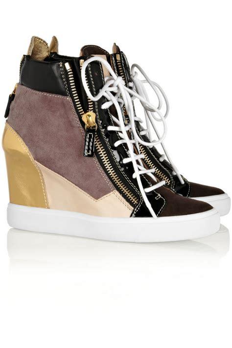 giuseppe zanotti sneaker wedge giuseppe zanotti lorenz metallic leather and suede wedge