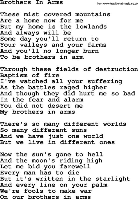 in lyrics joan baez song brothers in arms lyrics