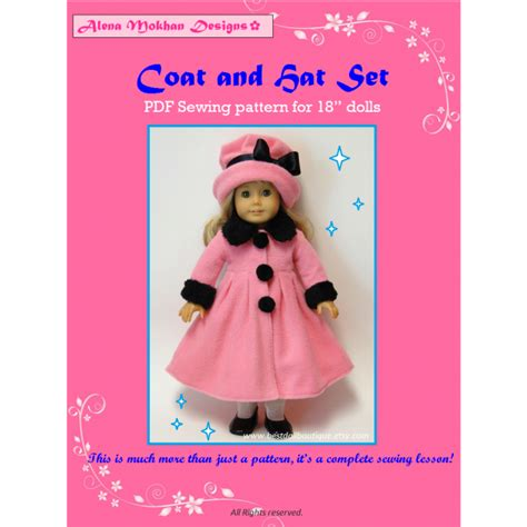 design doll clothes kit 18 quot doll clothes pdf sewing pattern doll coat and hat set