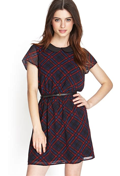 Plaid Collared Dress forever 21 plaid pan collar dress in blue navy wine