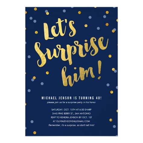 gold lettering surprise party invitations for him zazzle com