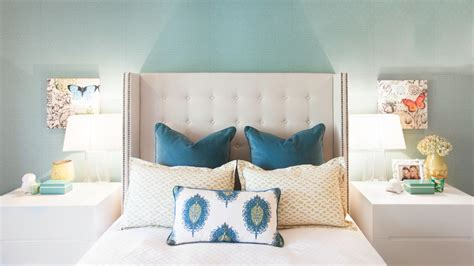 Navy Blue Accent Wall Bedroom Beach Style With Upholstered Navy Blue Headboard