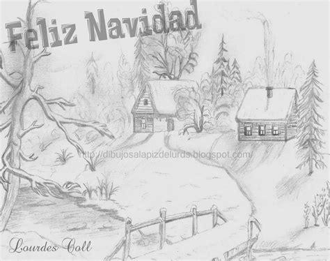 imagenes para dibujar a lapiz de navidad mis dibujos a l 225 piz paisaje de invierno para felicitar la