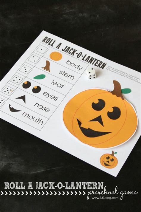 roll a jack o lantern printable 42 best teach parts of the body images on pinterest