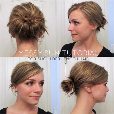 easy messy buns for shoulder length hair top 25 messy hair bun tutorials perfect for those lazy