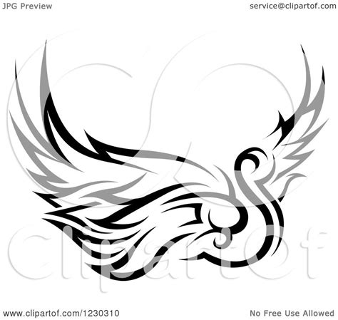 tribal swan tattoo designs clipart of a black and white tribal swan design