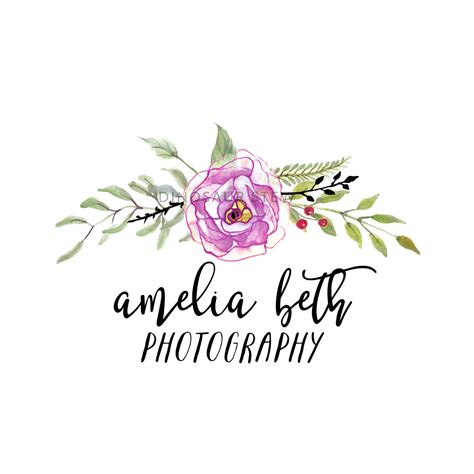 tutorial floral logo purple watercolor floral logo premade logo moodboard kit