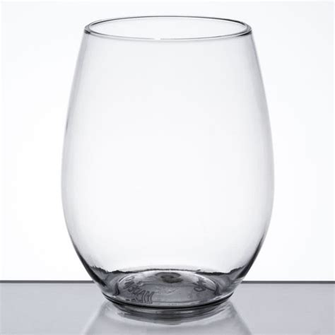disposable barware visions 12 oz clear plastic disposable stemless wine glass 64 case