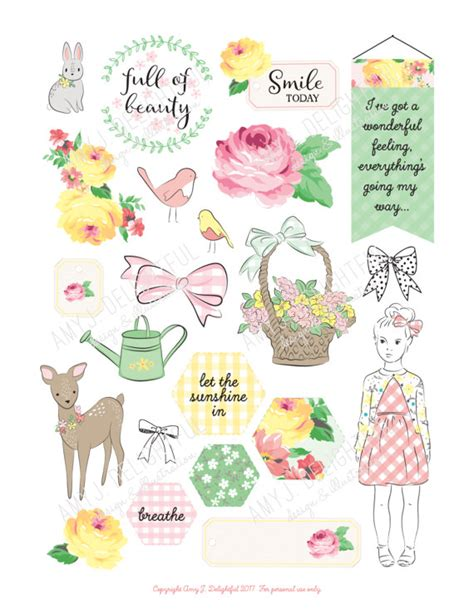 printable planner die cuts printable spring planner die cuts digital file instant
