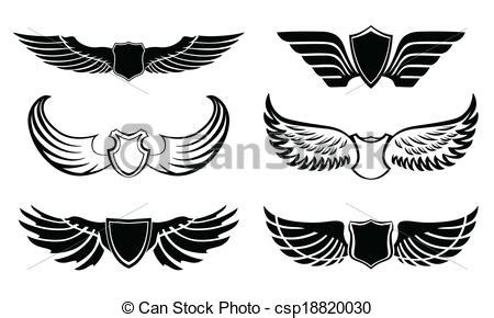 Set Sayap abstract feather wings pictograms set abstract feather
