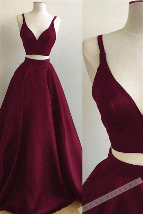 Dress Of The Day Som Silk Dress 2 by Burgundy Satins Two Pieces V Neck Prom Dresses Summer
