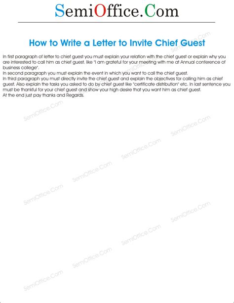 Invitation Letter For Conference As Chief Guest How To Write A Letter To Invite Chief Guest