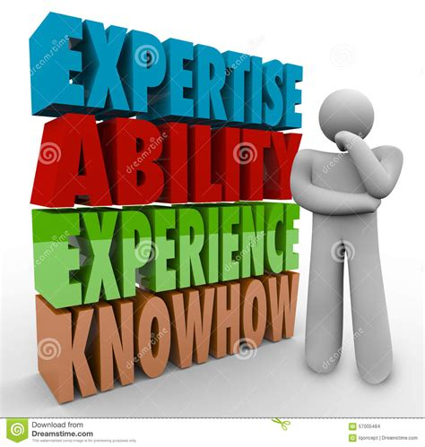 expertise ability experience knowhow thinker criteria qualifications stock illustration