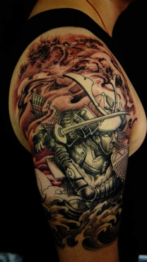 best quarter sleeve tattoo best samurai tattoo designs samurai lotus half sleeve