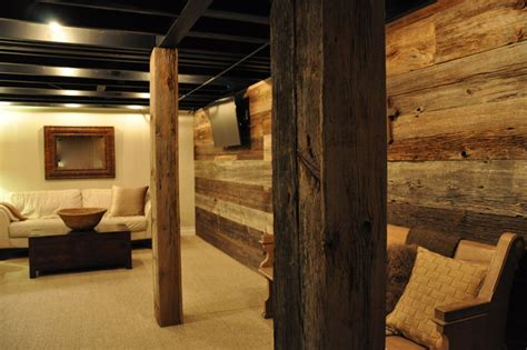 wood basement modern and rustic rustic basement chicago by