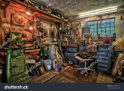 The Chaos That Is My Workshop Ghost Furniture by Small Garage Workshop Equipment Stock Photo 146097164