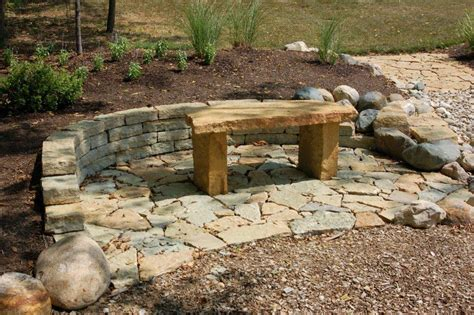 stone patio bench rustic benches indianapolis decorative rock mccarty mulch