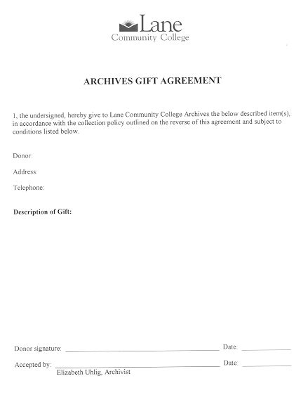 Gift Agreement Letter Sle Forms Archives And Records Community College