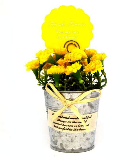 Tin Vases For Flowers by Chakkar Artificial Flower Bunch In Tin Vase Buy