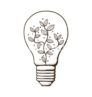 doodle of light light bulb with leaves within vector by chuhail on