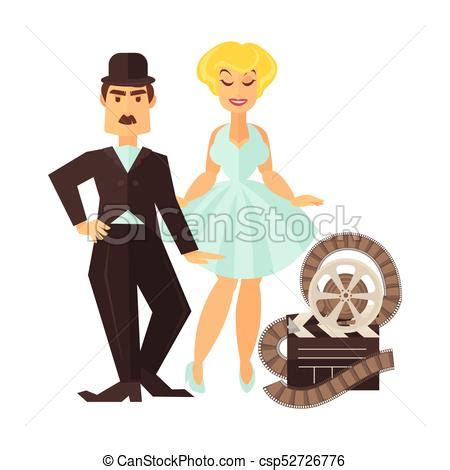 actor actress clip retro cinema actor and movie actress vector flat