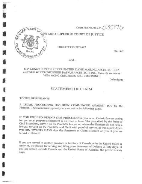 statement of claim template statement of claim ottawa v mp lundy et al goulbourn rec