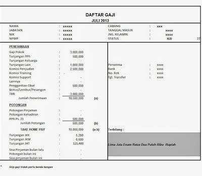 format slip gaji orang tua contoh slip gaji terlengkap 2015
