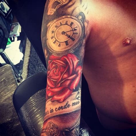 half open rose tattoo tribal cover up half sleeve roses clock