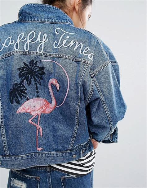 image 3 of pull denim jacket in vintage wash with flamingo motif pinteres