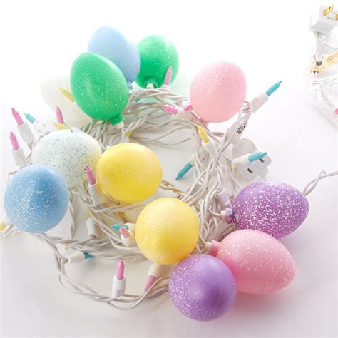 Speckled Easter Egg And Pastel Bulb Cord String Lights Easter String Lights