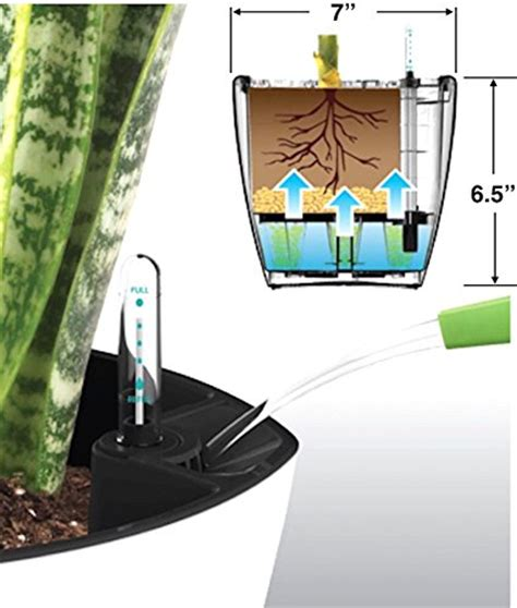 fiber soil self watering planter 7 quot water level indicator fiber soil foolproof indoor garden and