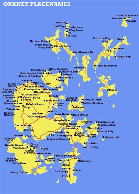 scotland mapping the islands 1780273517 this fabulous map showing all of the weird place names in the orkney islands orkney islands