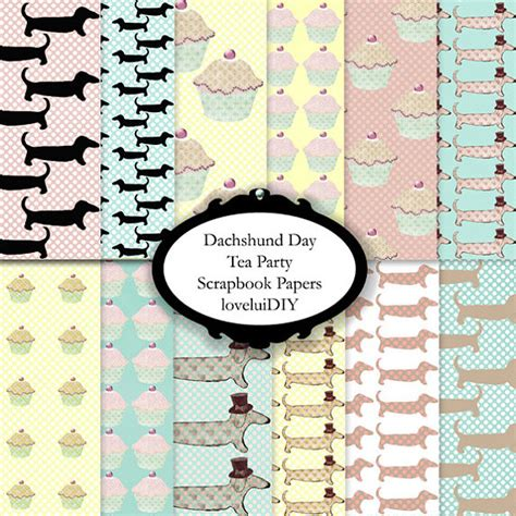 12inch Scrapbook Paper 36b dachshund scrapbook papers digital 12 x 12 inch personal and