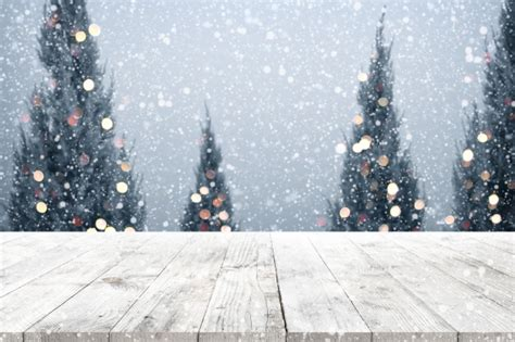 imagenes nieve vintage christmas and new year background with wooden deck table