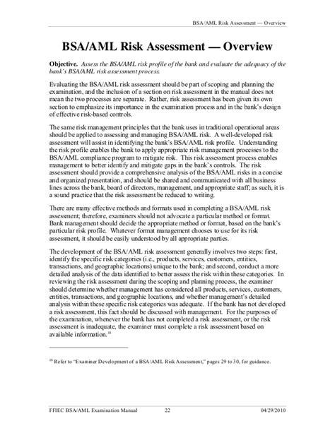 Bank Secrecy Act Bsa Anti Money Laundering Ffiec Banking Risk Assessment Template