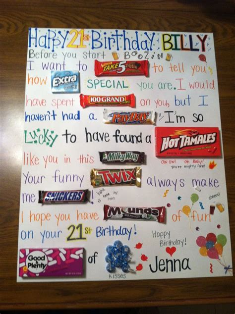 Birthday Gift Card Ideas For Him - meaningful birthday gifts for him best 25 candy card boyfriend ideas on pinterest bff
