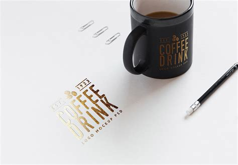 free logo mockup on paper and coffee cup freebies fribly